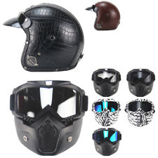 Retro PU Leather Motorcycle Scooter Harley Open Face Half Helmet + Mask DOT VST