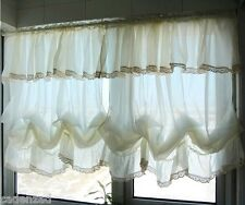 Shabby Chic Hem Lace and Flounce and Fixed Valance Creamy White Balloon Curtains