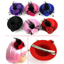Ladys Mini Feather Rose Top Hat Cap Lace fascinator Hair Clip Costume Rakish