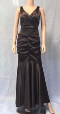 NWT XSCAPE X7791R Ruched Stretch Satin Sheath Trumpet Gown Dress #104 BROWN 8