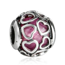 authentic 925 sterling silver Crystal Charm Bead Cerise Encased Charm Beads