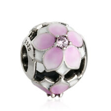 authentic 925 sterling silver Pale Cerise Enamel Pink Magnolia Bloom Charm Bead