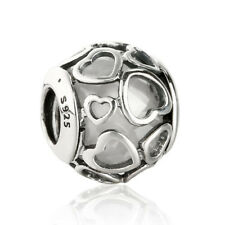 White Crystal Original 925 Sterling Silver Encased in Love Hearts Charm Beads