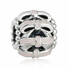 authentic 925 sterling silver Charms Pink Bow Openwork Enamel Charms Bead Charm