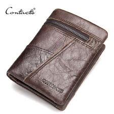 HANDMADE | Credit Card Cowhide Men Wallets ZIpper Pocket Patchwork Leather