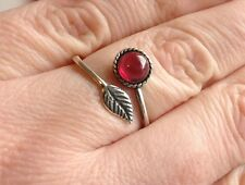 925 Sterling Silver Plated Feather Ring Garnet Gemstone Adjustable Gift