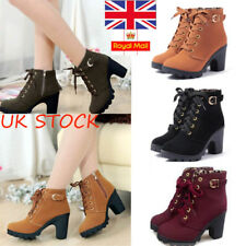Womens Chunky Boots Lace Up Mid Block Heel Ankle Boots Suede Leather Shoes Size