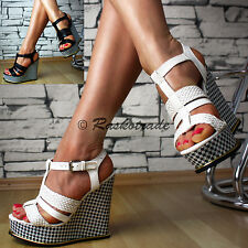 SeXy Ladies' shoes Platform Wedges Sandals Strap Wedge heel Party White Black