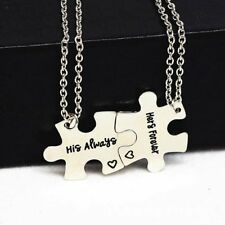 2x His Always and Hers Forever Puzzle Couples Necklace Set His Hers Love Jewelry