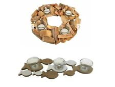 Nautical Brown Driftwood 4 Glass Round or 3 Glass Fish Tea Candle Light Holder