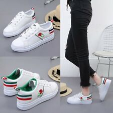 Women's Ladies Fashion Leather Rose Flower Casual Lace Up Sneakers Trainer Shoes