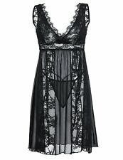 DLOREUK Lingerie For Women V Neck Lace Babydoll Mesh Chemise Sexy Nightgown