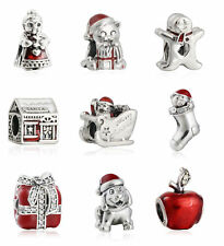 Genuine Sterling Silver Charm Bead Red Enamel Christmas gift Fine Silver Beads