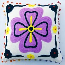 SUZANI EMBROIDERED HANDMADE PILLOW COVER VINTAGE SUZANI POM POM CUSHION COVER