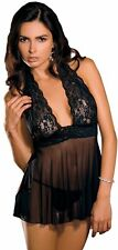 Lace and Mesh Halter Babydoll Lingerie in Black Authentic Rene Rofe Brand