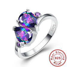 Noble Waterdrop Rainbow & Pink Topaz Gems 925 Sterling Silver Ring Size 6 7 8 9