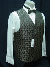 Old West Vest Victorian Style Black Tan paisley pattern 2 ties and hanky