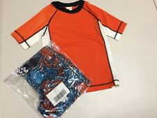 NWT Gymboree Boys Rash Guard Top Shirt Trunk Orange Colorblock 4T UPF 50+