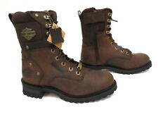 """Harley-Davidson NIB Men's Brown Leather """"Elson"""" Motorcycle Boots D93384"""