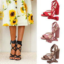 WOMENS PARTY ANKLE STRAP LACE UP SANDALS BLOCK HIGH HEELS CHUNKY SHOES SIZE 3-7
