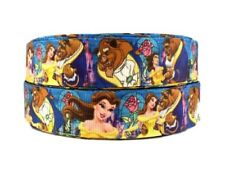 "Disney's Beauty And The Beast Blue 1"" Wide Repeat Ribbon Sold in Yard Lots"