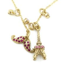 Betsey Johnson  Pave' Mustache Eiffel Tower Charm Pendant Necklace  #F1