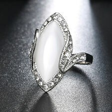 Women Marquise Cut Artificial Stone Rhinestone Finger Ring Party Jewelry Natural