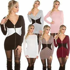Ladies 2way Knitted Dress Mini Zipper S 34 36 Long Pullover Sweater
