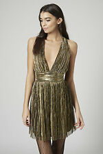 Topshop gold pleated skater dress *BNWT*CARA*bloggers*party*metallic*shimmer