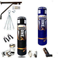 Punching Boxing 4-5FT Heavy Punch Bag, Gloves, Wall Bracket,Chains, MMA Training