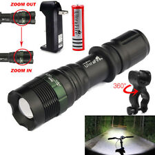 Flashlight Tactical 50000LM T6 LED Zoomable Torch Lamp Battery Charger Bike Clip
