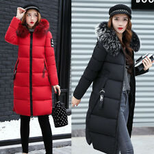 Womens outdoor Long Coat Faux Fur Hooded Duck Down Lady Jacket Slim Parka Warm s