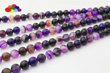 Diy 4/6/8/10/12mm Natural Purple stripes stone Round Beads fit bracelet necklace