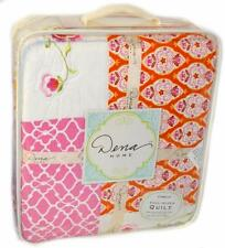 DENA HOME Camille Floral Abstract FULL/ QUEEN QUILT Pink Gold Orange New COTTON