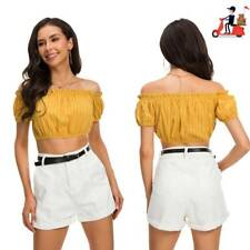 Womens Sexy Cropped Hollow Top T-Shirt Casual Short Vest Tank Top Yellow US Sale