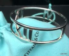Tiffany & Co. Sterling Silver Atlas Roman Numera Widel Bangle Bracelet