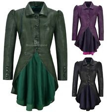Ladies Gothic Dovetail Real Leather Tailcoat Long Slim Fit Fashion Jacket 5003