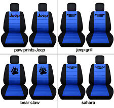 Fit JK wrangler  front car seat covers blk-med blue  w/ jeep grill, bear claw