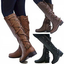 WOMEN'S MILITARY CRISSCROSS LACE UP SHOES ZIPPER LOW CHUNKY HEEL KNEE HIGH BOOTS