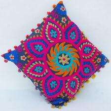 "Indian Handmade Embroidered Suzani Cushion Cover 16""Vintage Suzani Pillow_Case1D"