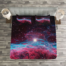 Nebula Quilted Bedspread & Pillow Shams Set, Outer Space Stars Galaxy Print