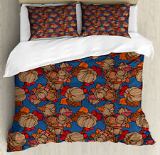 Floral Duvet Cover Set with Pillow Shams Funk Art Flower Pattern Print