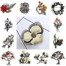 Vintage Silver Agate Pearl Flower Plant Leaf Brooch Pin Women Costume Jewelry