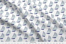 Ocean Waves Beach Vacation Mint And Navy Blue Fabric Printed by Spoonflower BTY