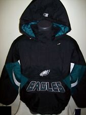 PHILADELPHIA EAGLES Starter Hooded Half Zip Pullover Jacket S M L XL 2X BLACK