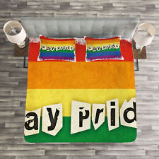 Pride Quilted Bedspread & Pillow Shams Set, LGBT Parade Retro Style Print