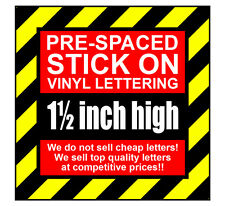 10 Characters 1.5 inch 38mm high pre-spaced stick on vinyl letters & numbers
