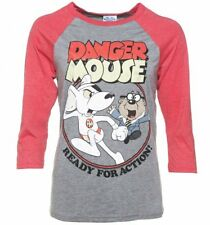 Official Danger Mouse Ready For Action Grey and Red Raglan Baseball T-Shirt