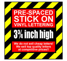 10 Characters 3.75 inch 95mm high pre-spaced stick on vinyl letters & numbers