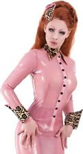 Bordelle-L'Amour Latex Shirt Semi-Trans Pink with Pearl Sheen Sunset Gold Trim